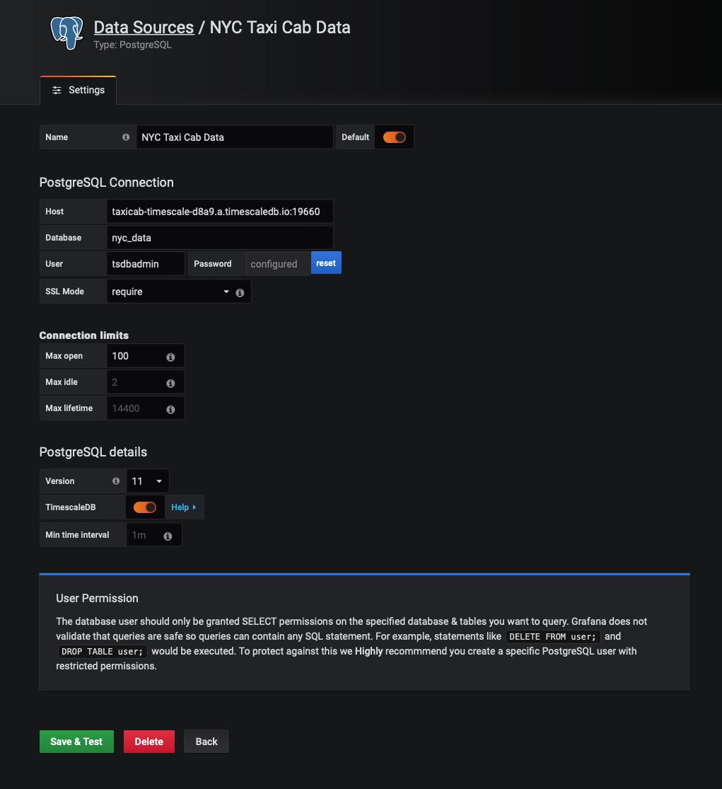 Test your Grafana database connection