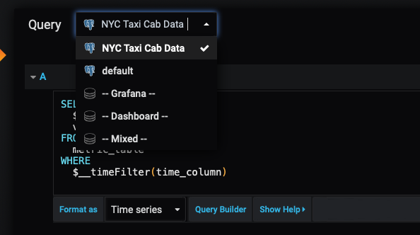 Switching data sources in Grafana